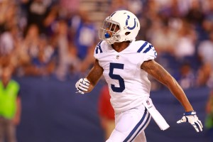 Indianapolis Colts wide receiver Tevaun Smith (5) after a touchdown against the Baltimore Ravens during the second half of an NFL preseason football game in Indianapolis, Saturday, Aug. 20, 2016. (AP Photo/R Brent Smith)