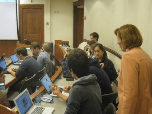 Professor Betsy Sigman using Google+ in class