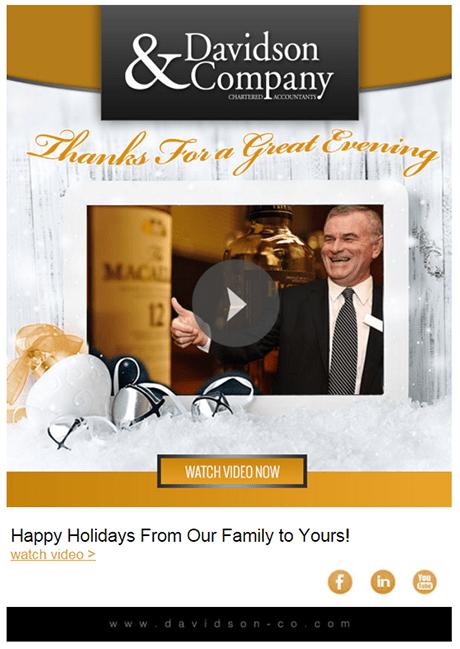 Holiday email example -- celebration