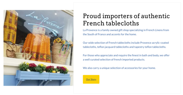 French goods store La Provence website photo