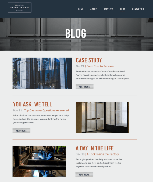content marketing for manufacturers - blog example