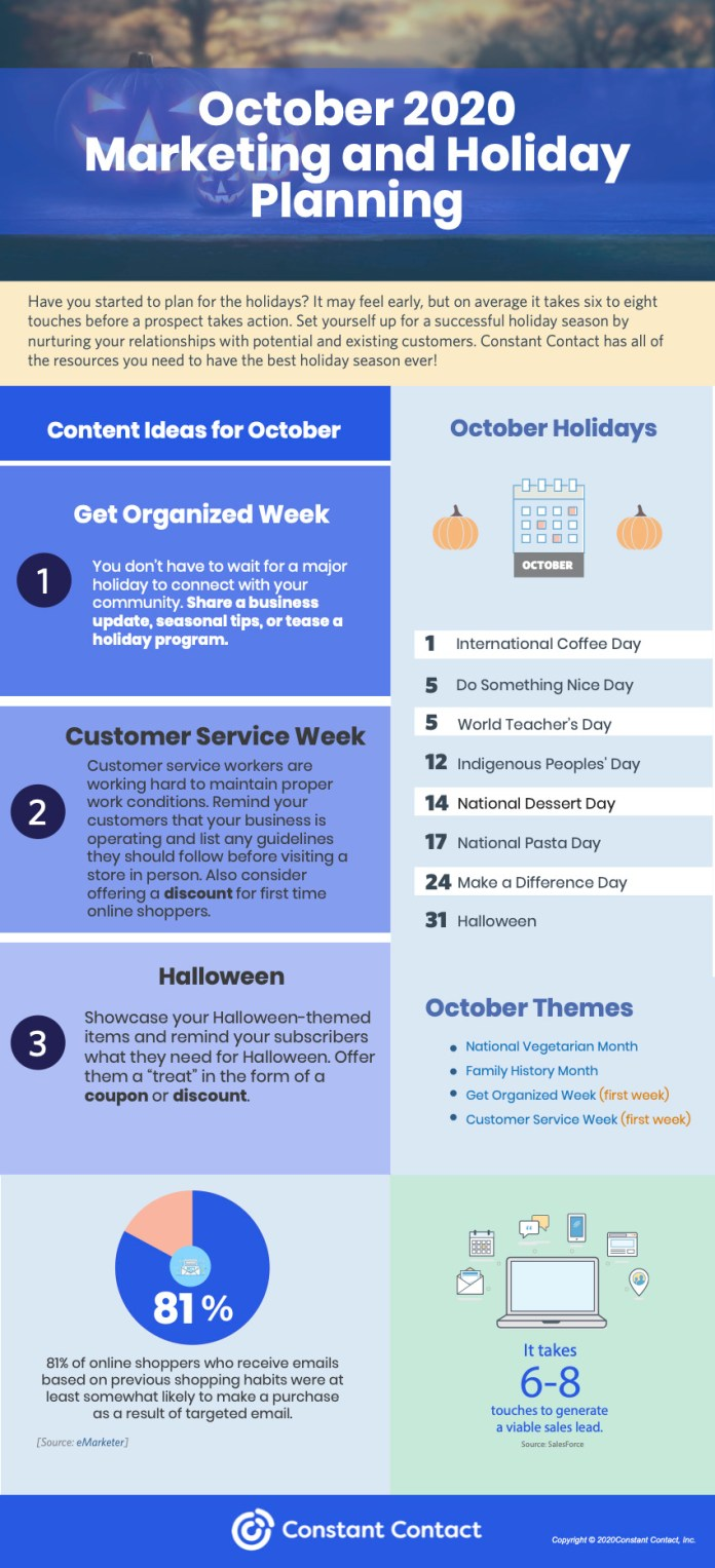 October 2020 marketing holiday planning infographic