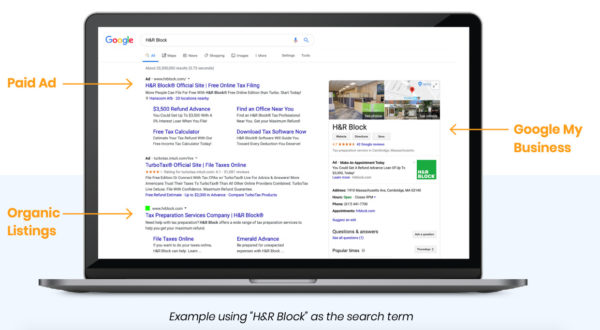 Google search results for professional services businesses