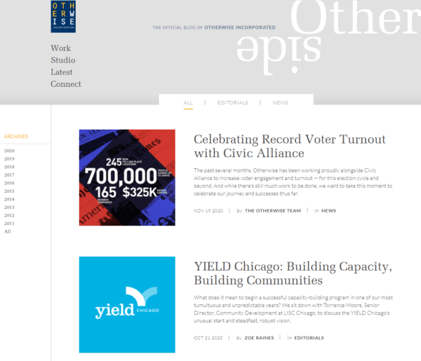 blog examples - Otherside by Otherwise Inc.