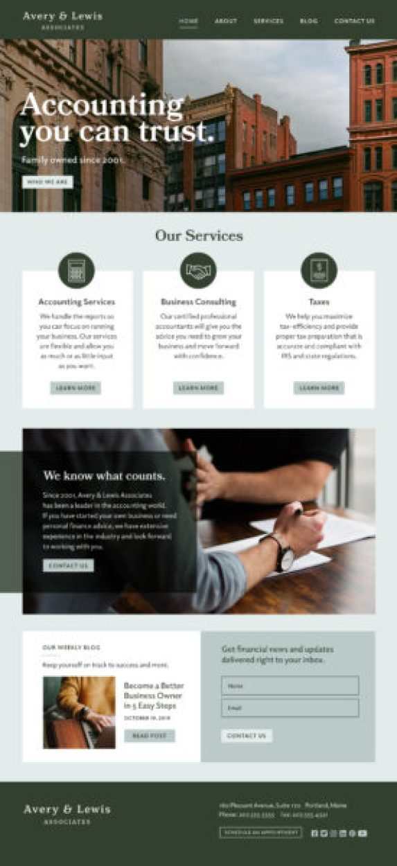 Accounting Website Design needs a homepage that shows who you are