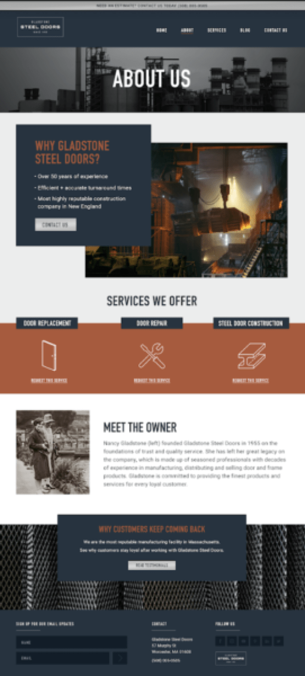 What makes a great manufacturer website? An about page that's a touch personal.