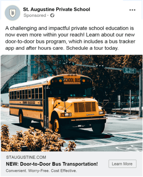 Advertising for schools - Facebook example