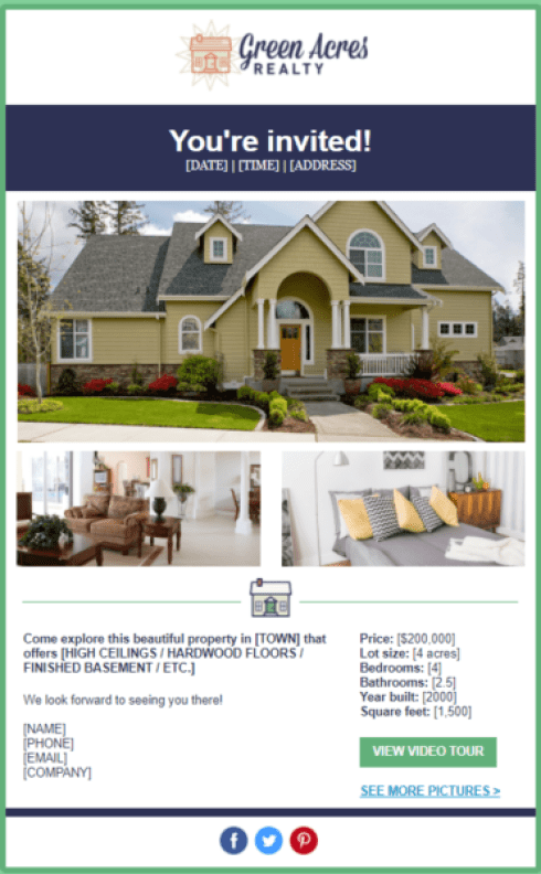 real estate email templates for open houses