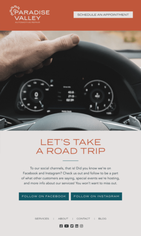 automotive email marketing starts with a welcome series that includes an invitation to connect on social media platforms