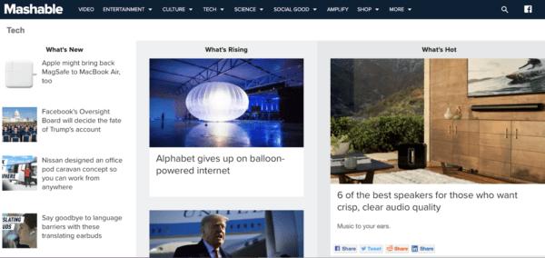 Mashable IT company blog example for inspiration