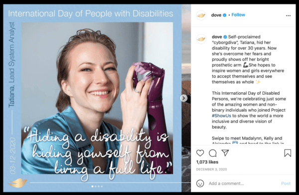 Dove implemented user generated content for their #ShowMe campaign.