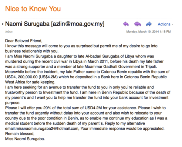 example of types of spam found in email inboxes