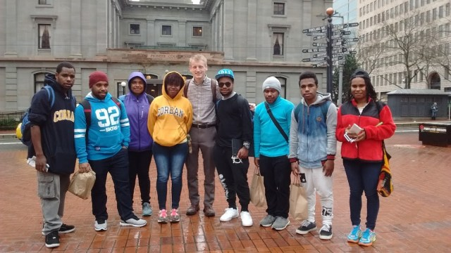Students posed at Pioneer Square in Portland