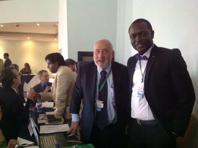 "[Photo courtesy of Bobby Eric Musah | A pictorial with Noble Laureate Professor Joseph Stiglitz at the side meeting on ""Unlocking public and private capital for Africa Infrastructure"" at the Global Conference on Financing for Development(FfD3) in July 2015, Addis Ababa, Ethiopia.]"
