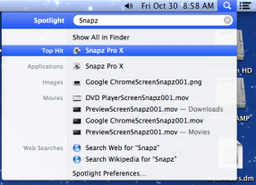 Spotlight search for Snapz