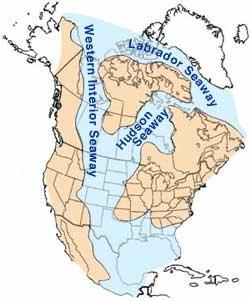 The Cretaceous seaway dividing the North American landmass way back when
