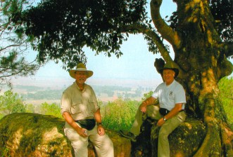 Gene Hamner and friend re-visitng the Plain of Jars - Laos