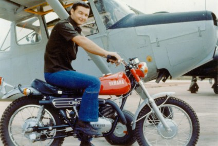Joe Scheimer on his Yamaha motorcycle
