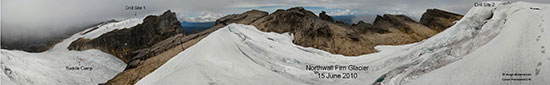 This shows our camp and first drill site (left) in context with the second planned drill site (right). Now you see why we can't just hike over there with the equipment. (click to view enlargement). 13-image mosaic panorama by Paul Warren, PT Freeport Indonesia.