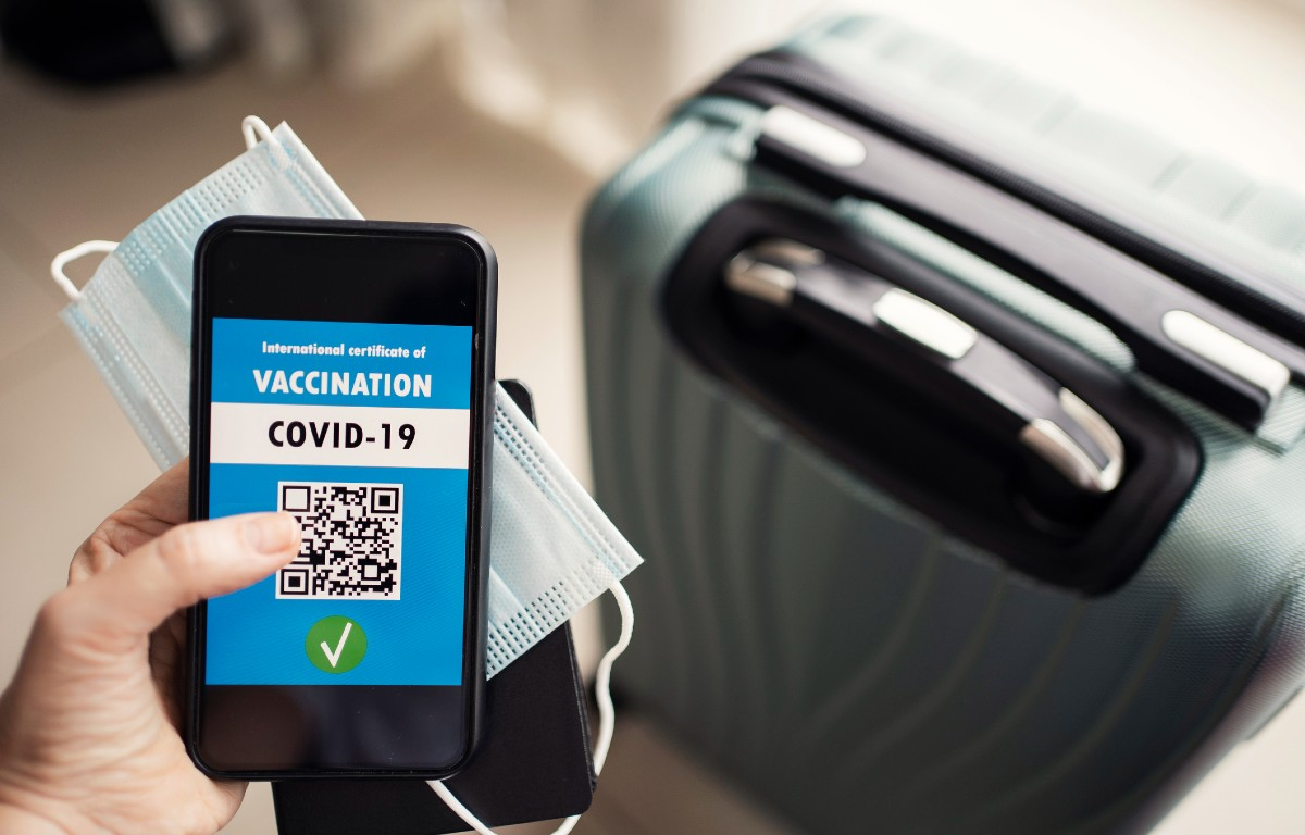 Image of vaccine passport on a mobile phone