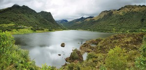Panoramic view of Papallacta lake in Papallacta Pass from Baeza to Quito, Ecuador