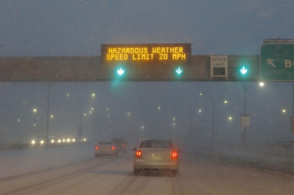 Traffic moves slowly through a snowstorm on I-278 in New York