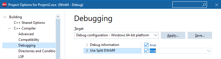 "Project Options, Building, C++ Compiler, Debugging, ""Use Split DWARF"" option"