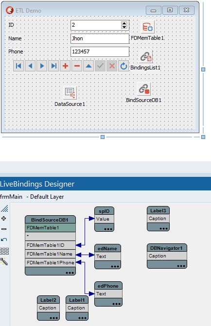 ETL com FireDac e LiveBindings