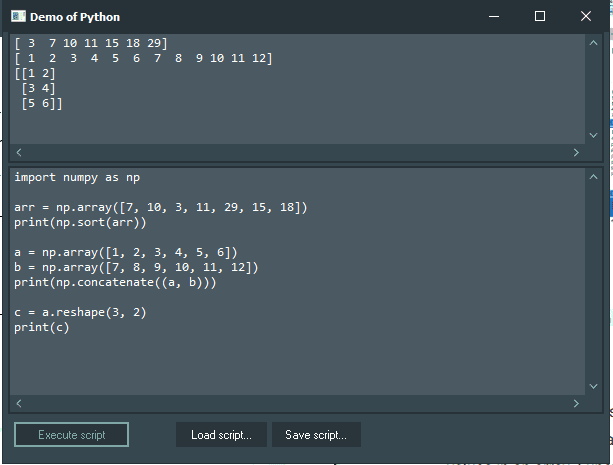 NumPy Demo with Python4Delphi in Windows.