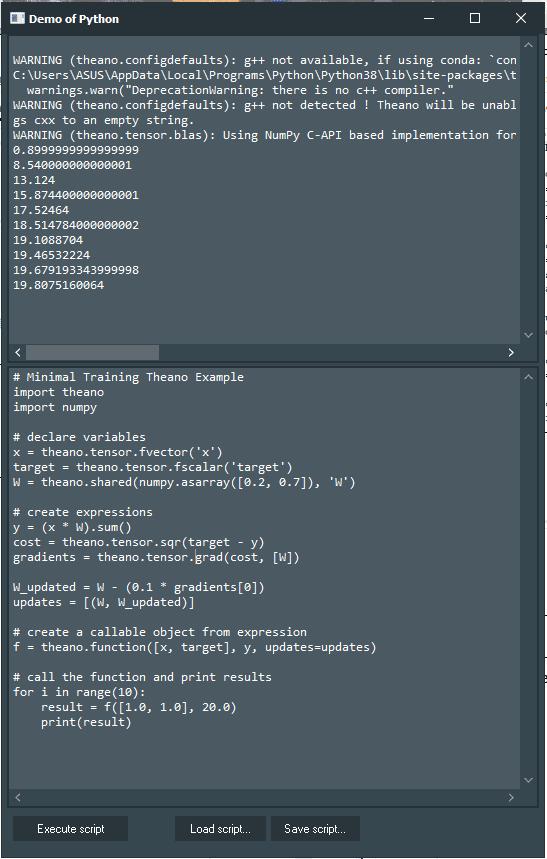 Theano Demo with Python4Delphi in Windows.