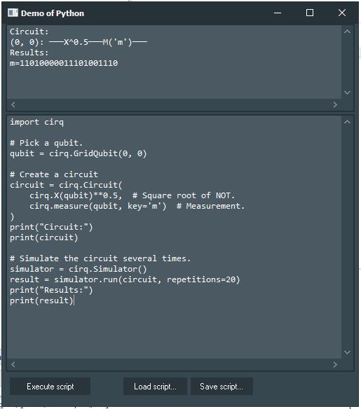 Cirq Demo with Python4Delphi in Windows.