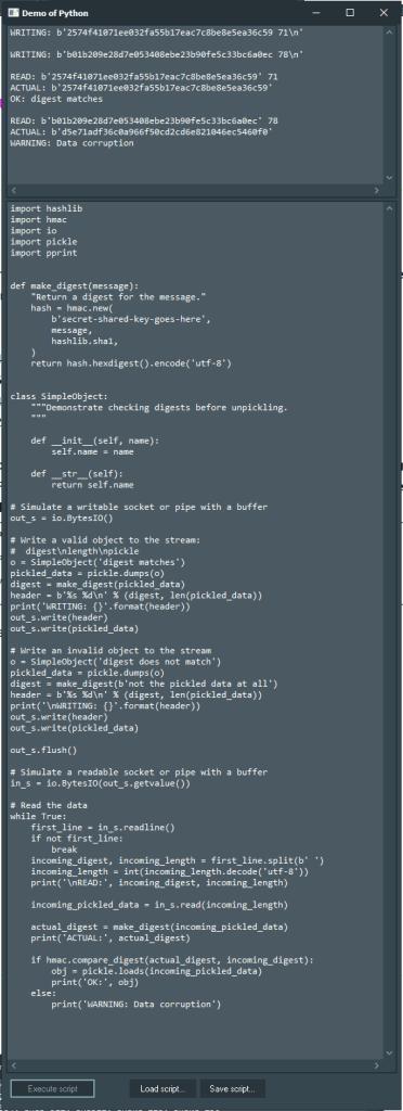 hmac Demo with Python4Delphi in Windows.