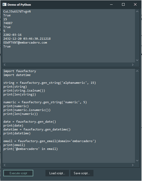 FauxFactory Demo with Python4Delphi in Windows.