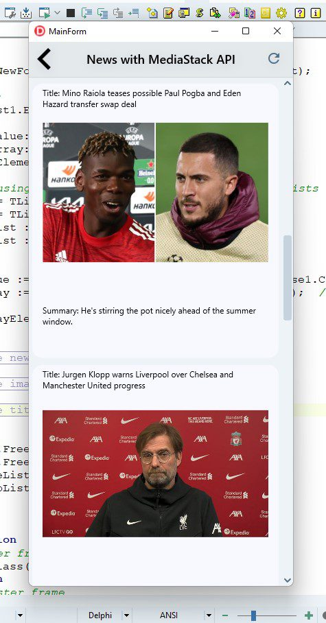 How To Create A Cross-Platform News App With Delphi - final screen running in the debugger