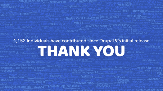 The names of the 1,152 individuals that contributed to Drupal 9 so far