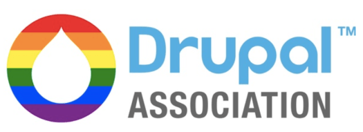 logo of Drupal Association with drop shaped icon on left