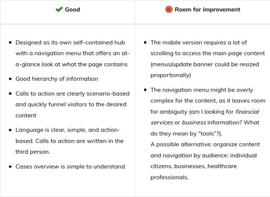 UX comparison table