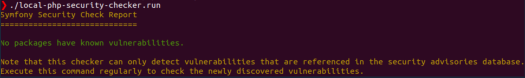 Result of the scan using local-php-security-checker during a Drupal security audit