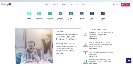 The homepage of CloudHealth is shown.