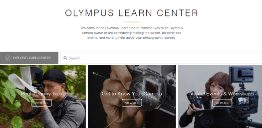The homepage of Olympus Learn Centre is shown.