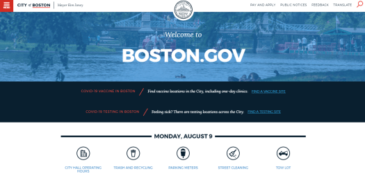 The homepage of City of Boston is shown.