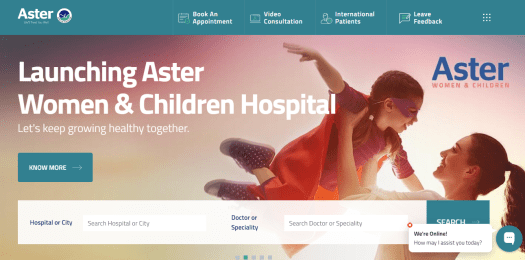 The home page of Aster Hospitals can be seen.