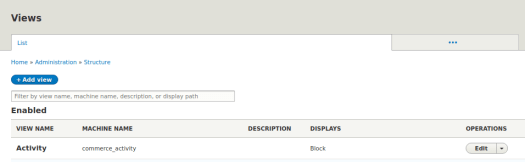 A list of views available for a particular user, located on the Views page in Drupal