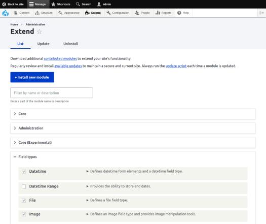Drupal 8 extend page