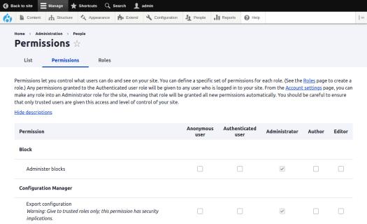Drupal 8 user permissions page