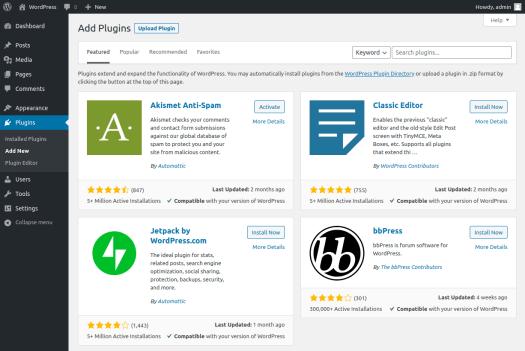 WordPress plugin search page