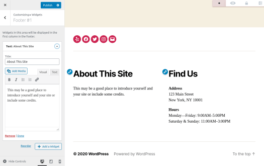 WordPress widgets live editor