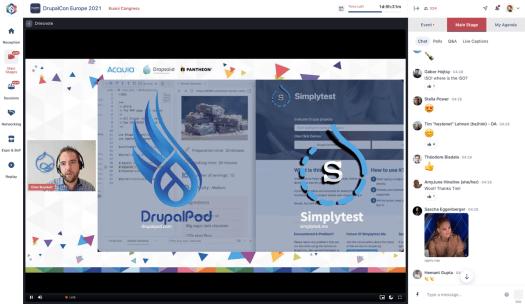 A slide promoting DrupalPod and Simplytest