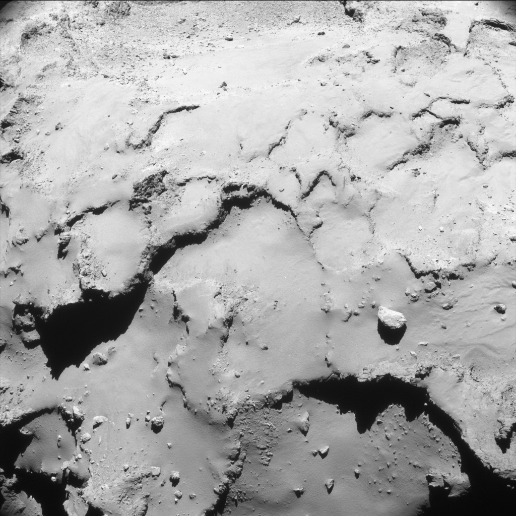 Lightly enhanced NAVCAM image taken on 30 September 2016 at 00:59UT. ESA/Rosetta/NAVCAM – CC BY-SA IGO 3.0