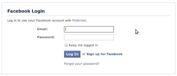 Inicio de sesión en Facebook para continuar en Pinterest.com
